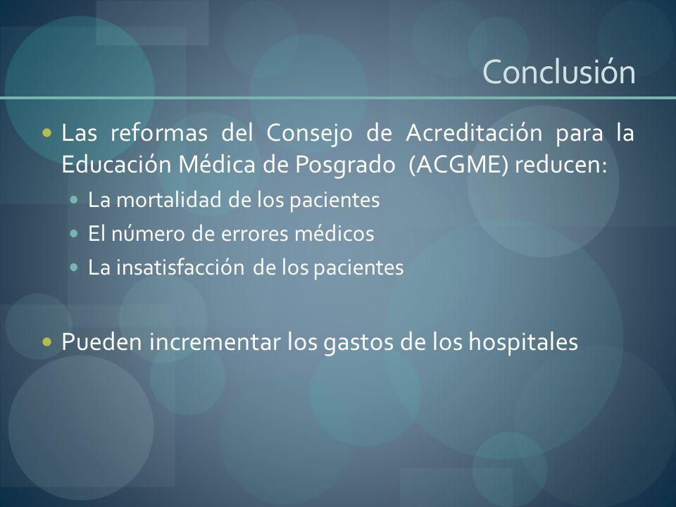 Conclusión Las reformas del Consejo de Acreditación para la Educación Médica de Posgrado (ACGME) reducen: La mortalidad de los pacientes El número de