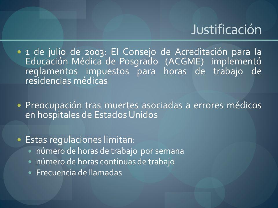 Justificación 1 de julio de 2003: El Consejo de Acreditación para la Educación Médica de Posgrado (ACGME) implementó reglamentos impuestos para horas