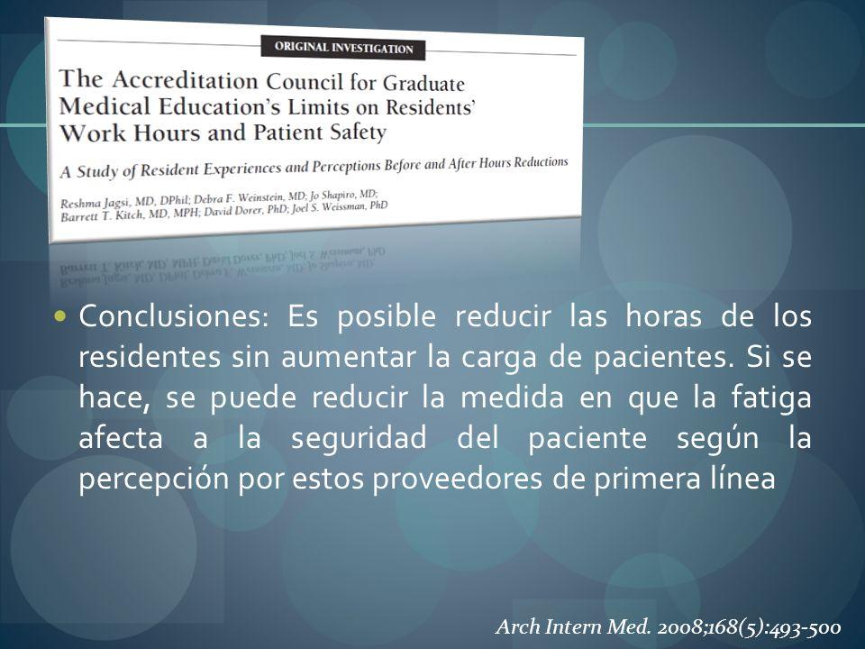 Conclusiones: Es posible reducir las horas de los residentes sin aumentar la carga de pacientes. Si se hace, se puede reducir la medida en que la fati