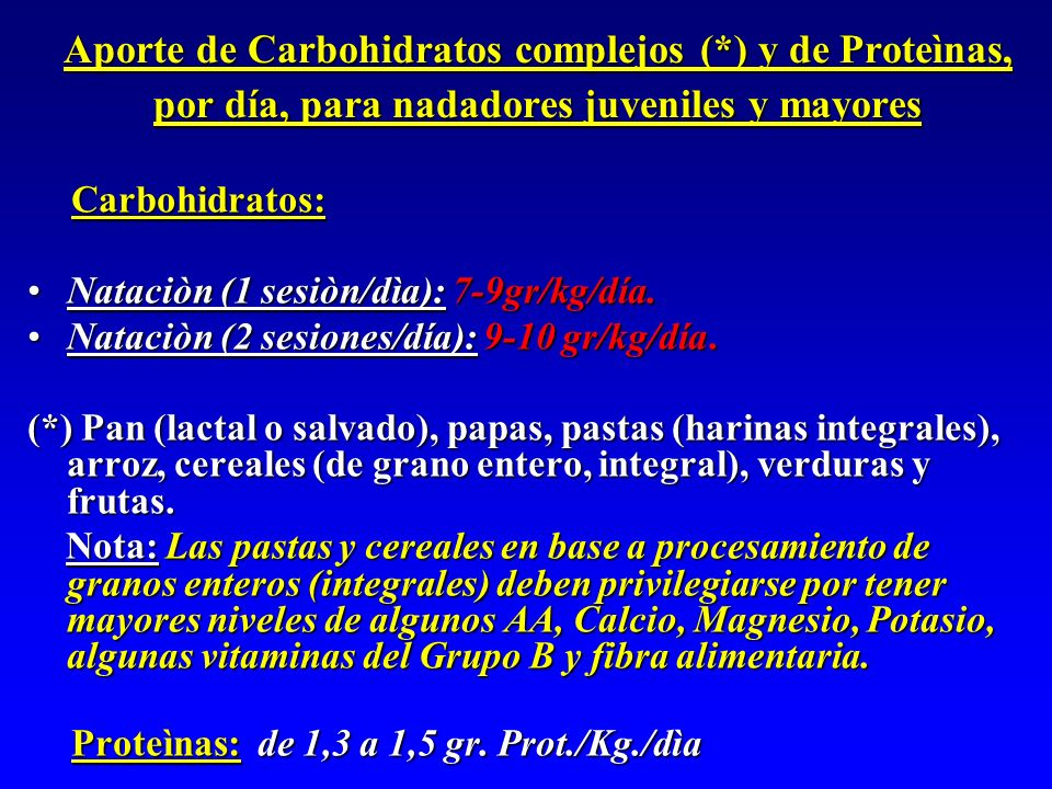 Aporte de Carbohidratos complejos (*) y de Proteìnas, por día, para nadadores juveniles y mayores Carbohidratos: Carbohidratos: Nataciòn (1 sesiòn/dìa