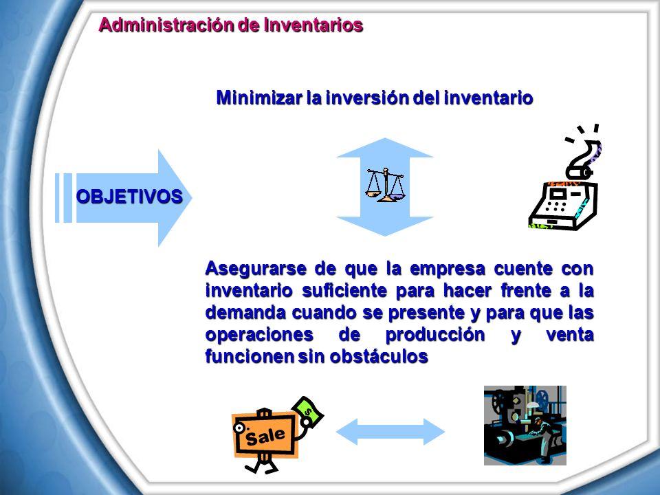 Minimizar la inversión del inventario Asegurarse de que la empresa cuente con inventario suficiente para hacer frente a la demanda cuando se presente