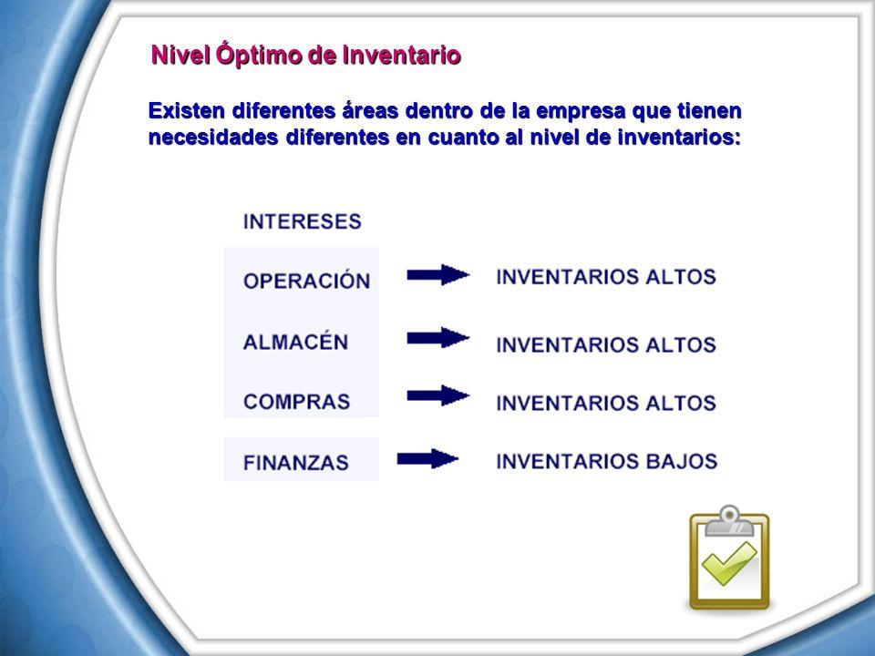 Existen diferentes áreas dentro de la empresa que tienen necesidades diferentes en cuanto al nivel de inventarios: Nivel Óptimo de Inventario