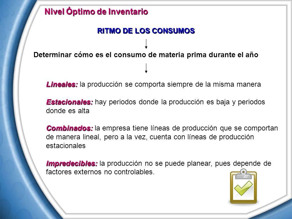 Nivel Óptimo de Inventario Lineales: Lineales: la producción se comporta siempre de la misma manera Estacionales: Estacionales: hay periodos donde la