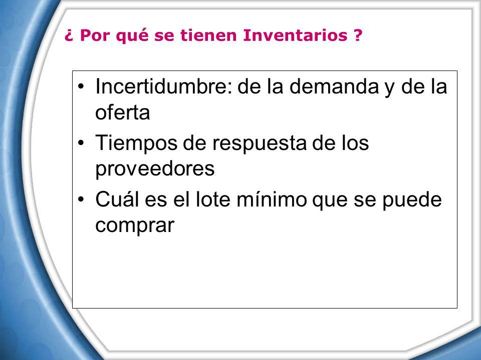 Incertidumbre: de la demanda y de la oferta Tiempos de respuesta de los proveedores Cuál es el lote mínimo que se puede comprar ¿ Por qué se tienen In