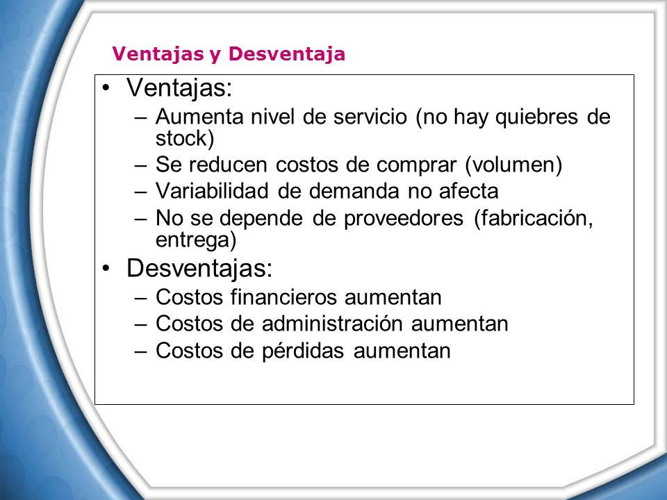 Ventajas: –Aumenta nivel de servicio (no hay quiebres de stock) –Se reducen costos de comprar (volumen) –Variabilidad de demanda no afecta –No se depe