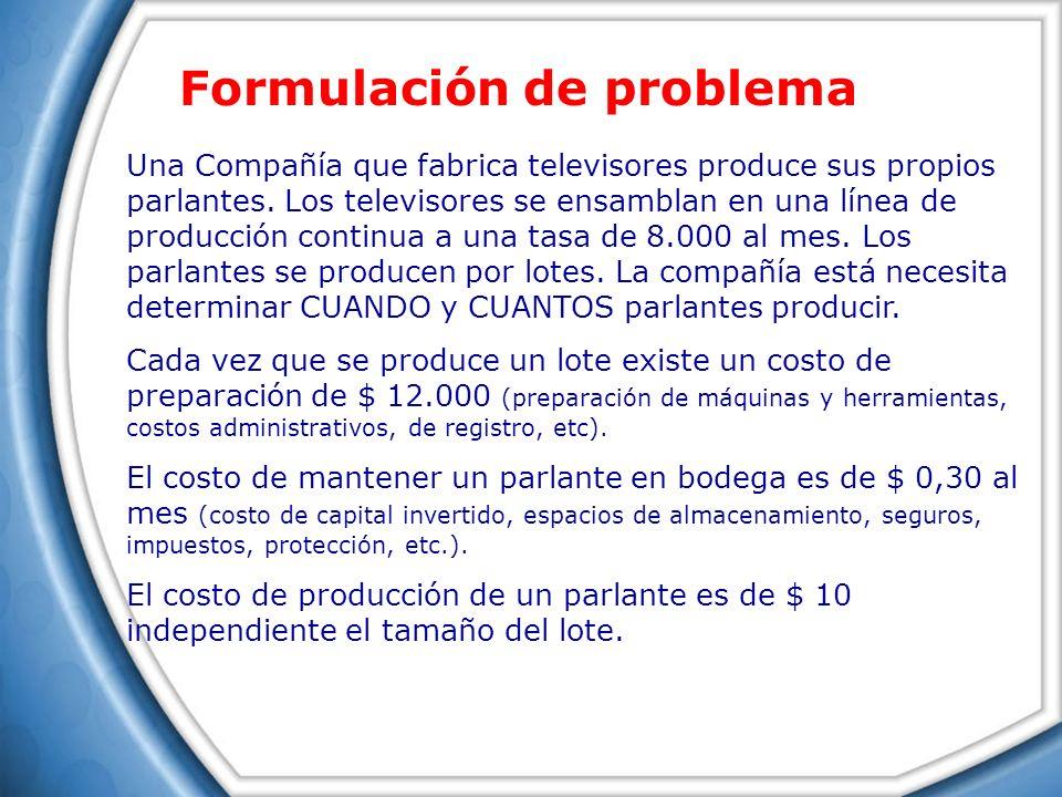 Una Compañía que fabrica televisores produce sus propios parlantes. Los televisores se ensamblan en una línea de producción continua a una tasa de 8.0