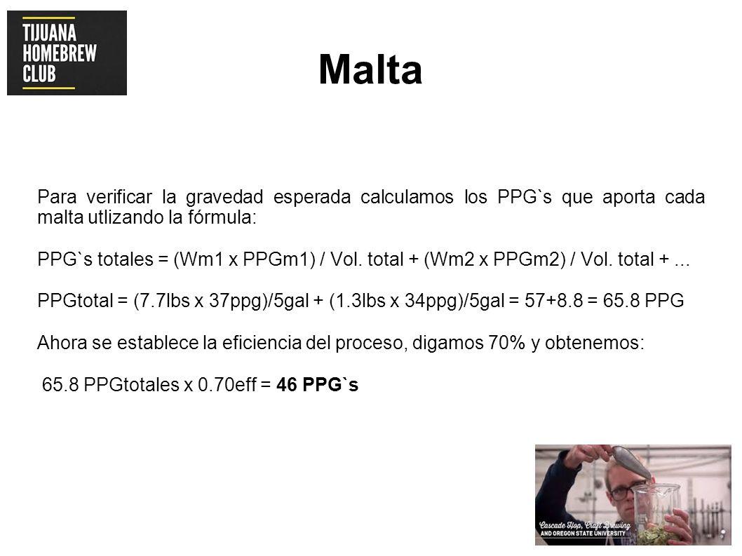 Malta Para verificar la gravedad esperada calculamos los PPG`s que aporta cada malta utlizando la fórmula: PPG`s totales = (Wm1 x PPGm1) / Vol. total
