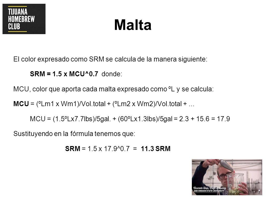 Malta El color expresado como SRM se calcula de la manera siguiente: SRM = 1.5 x MCU^0.7 donde: MCU, color que aporta cada malta expresado como ºL y s