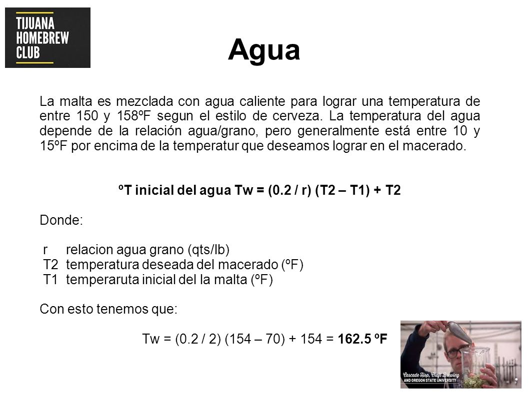 Agua La malta es mezclada con agua caliente para lograr una temperatura de entre 150 y 158ºF segun el estilo de cerveza. La temperatura del agua depen