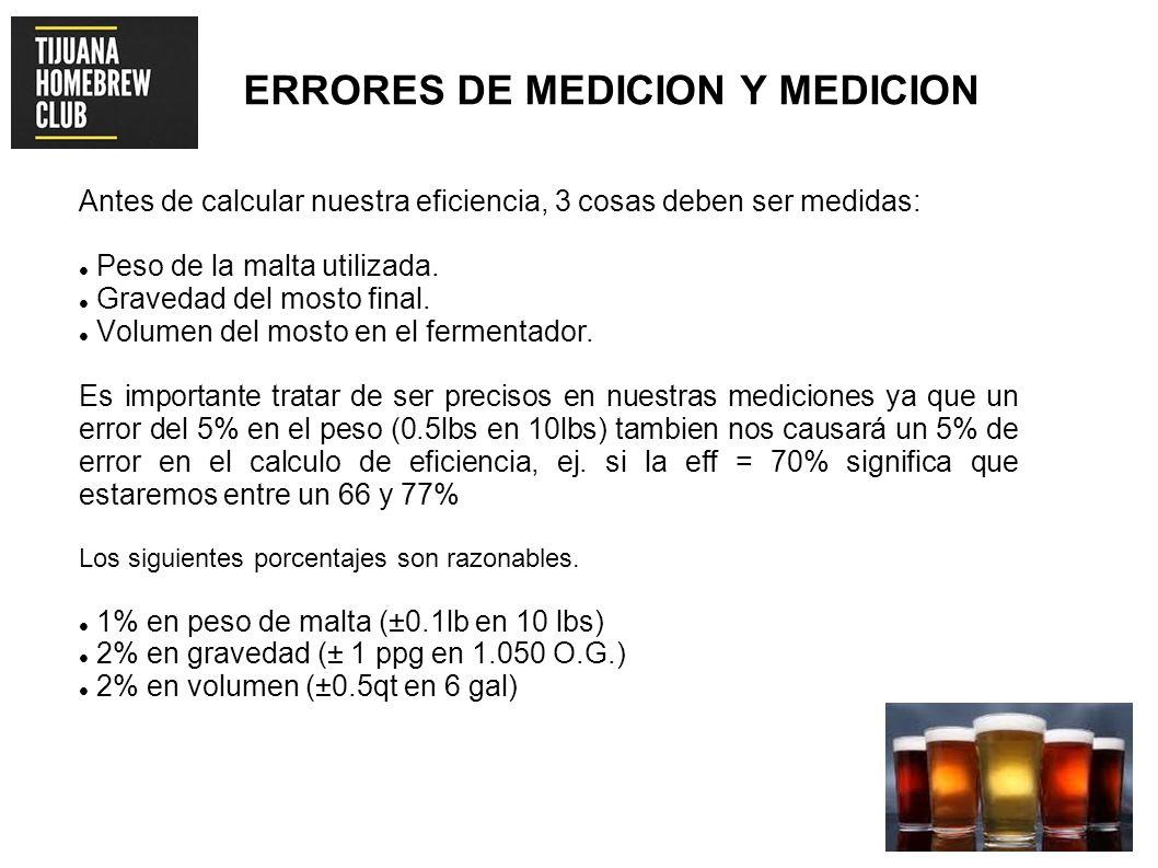 ERRORES DE MEDICION Y MEDICION Antes de calcular nuestra eficiencia, 3 cosas deben ser medidas: Peso de la malta utilizada. Gravedad del mosto final.
