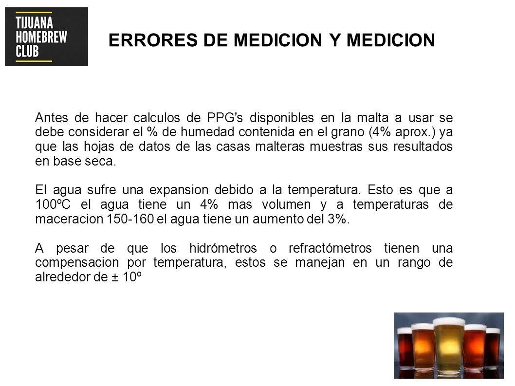ERRORES DE MEDICION Y MEDICION Antes de hacer calculos de PPG's disponibles en la malta a usar se debe considerar el % de humedad contenida en el gran