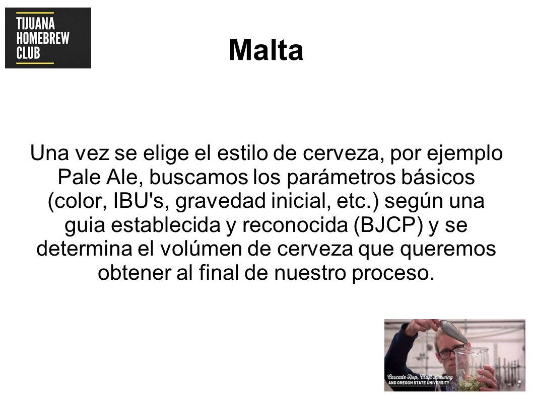 Malta Una vez se elige el estilo de cerveza, por ejemplo Pale Ale, buscamos los parámetros básicos (color, IBU's, gravedad inicial, etc.) según una gu