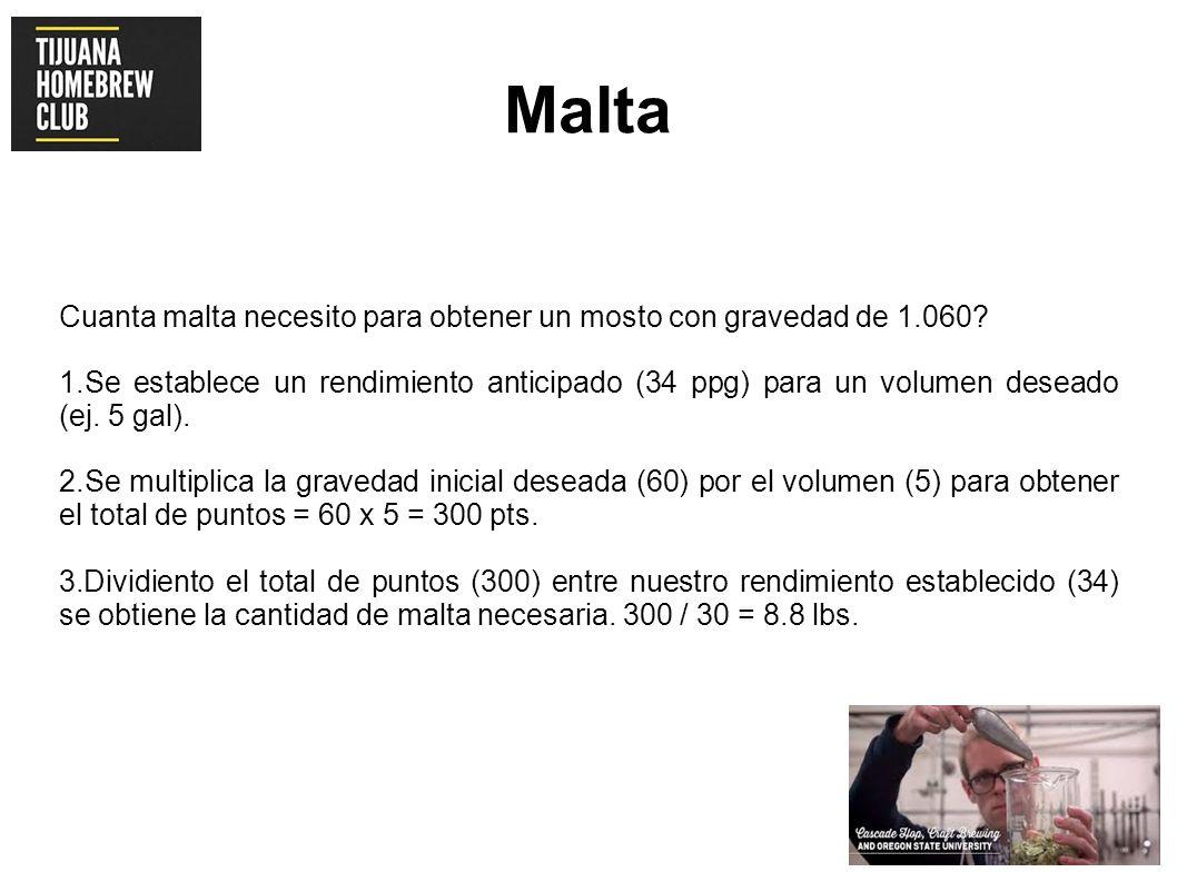 Malta Cuanta malta necesito para obtener un mosto con gravedad de 1.060? 1.Se establece un rendimiento anticipado (34 ppg) para un volumen deseado (ej
