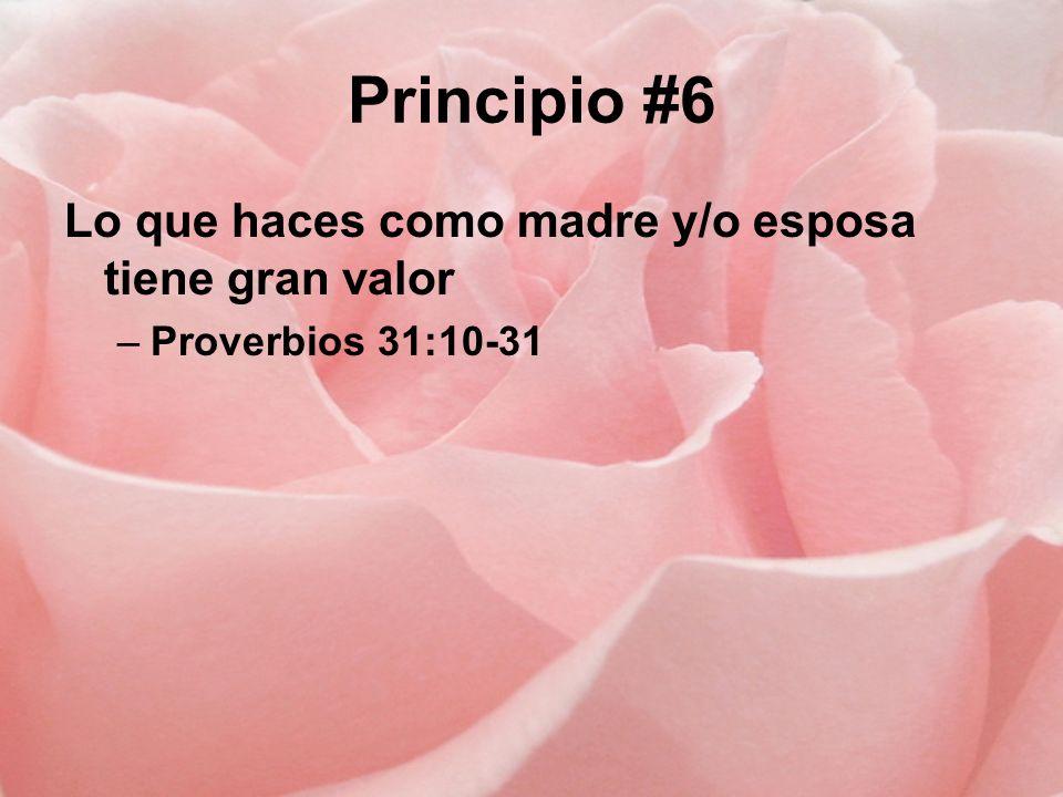 Principio #6 Lo que haces como madre y/o esposa tiene gran valor –Proverbios 31:10-31