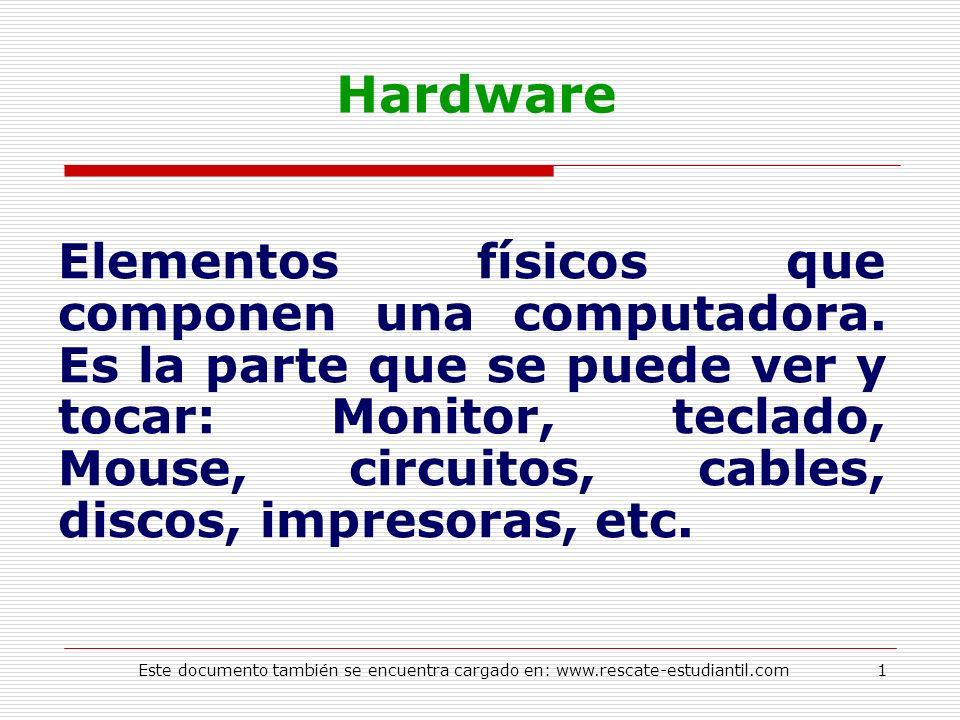 Hardware Elementos físicos que componen una computadora. Es la parte que se puede ver y tocar: Monitor, teclado, Mouse, circuitos, cables, discos, imp