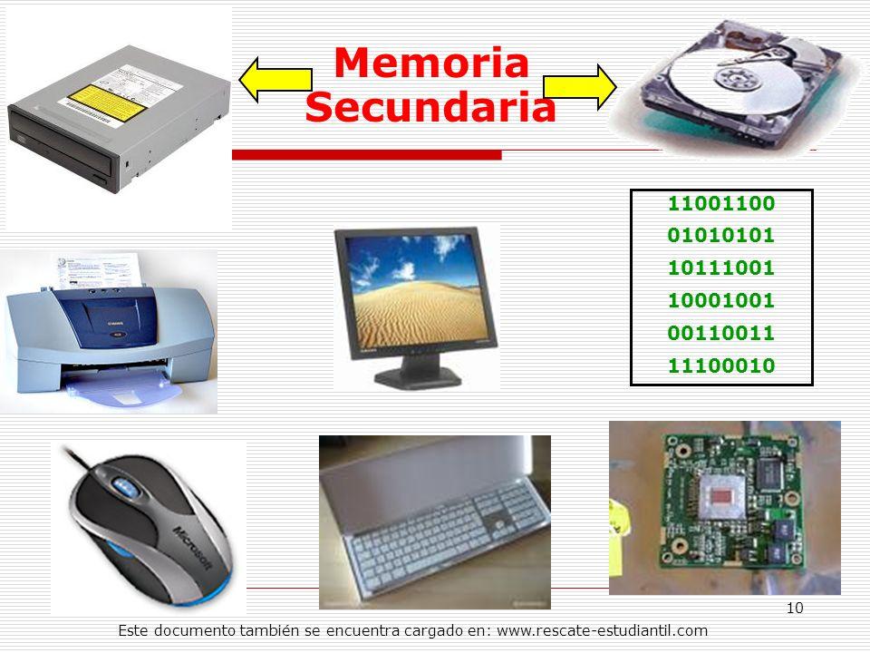11001100 01010101 10111001 10001001 00110011 11100010 Memoria Secundaria 10 Este documento también se encuentra cargado en: www.rescate-estudiantil.co