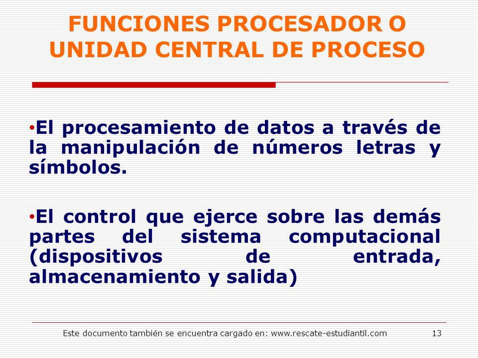 FUNCIONES PROCESADOR O UNIDAD CENTRAL DE PROCESO El procesamiento de datos a través de la manipulación de números letras y símbolos. El control que ej