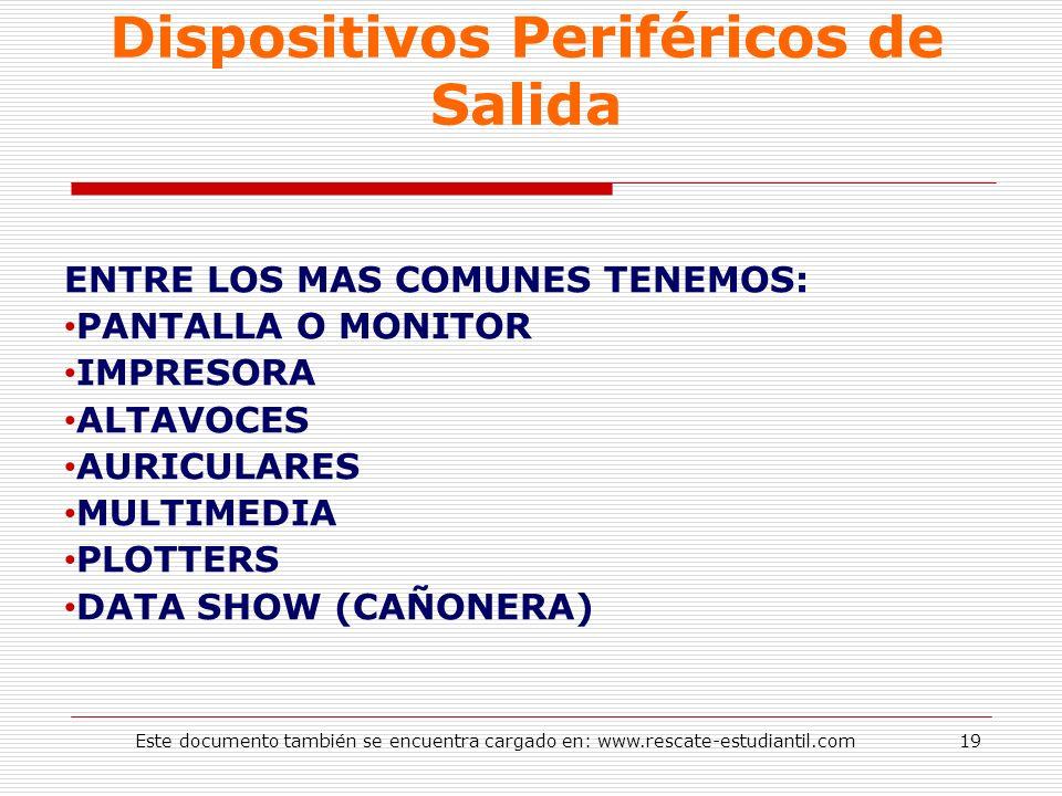 Dispositivos Periféricos de Salida ENTRE LOS MAS COMUNES TENEMOS: PANTALLA O MONITOR IMPRESORA ALTAVOCES AURICULARES MULTIMEDIA PLOTTERS DATA SHOW (CA