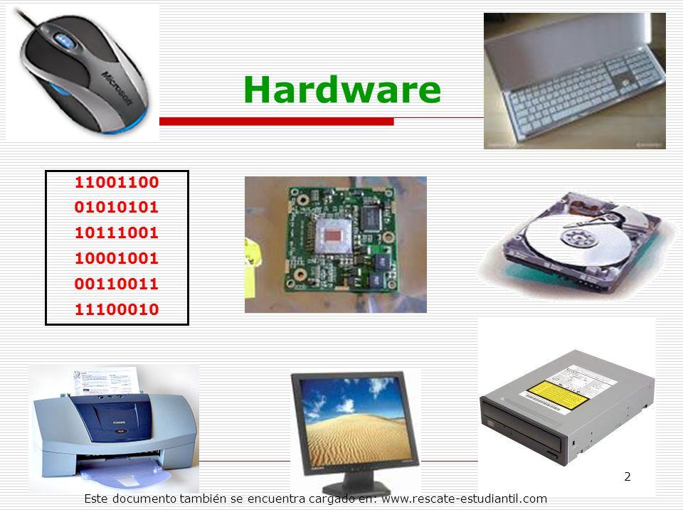 Hardware 11001100 01010101 10111001 10001001 00110011 11100010 2 Este documento también se encuentra cargado en: www.rescate-estudiantil.com