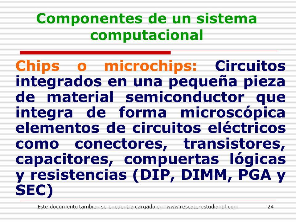 Componentes de un sistema computacional Chips o microchips: Circuitos integrados en una pequeña pieza de material semiconductor que integra de forma m