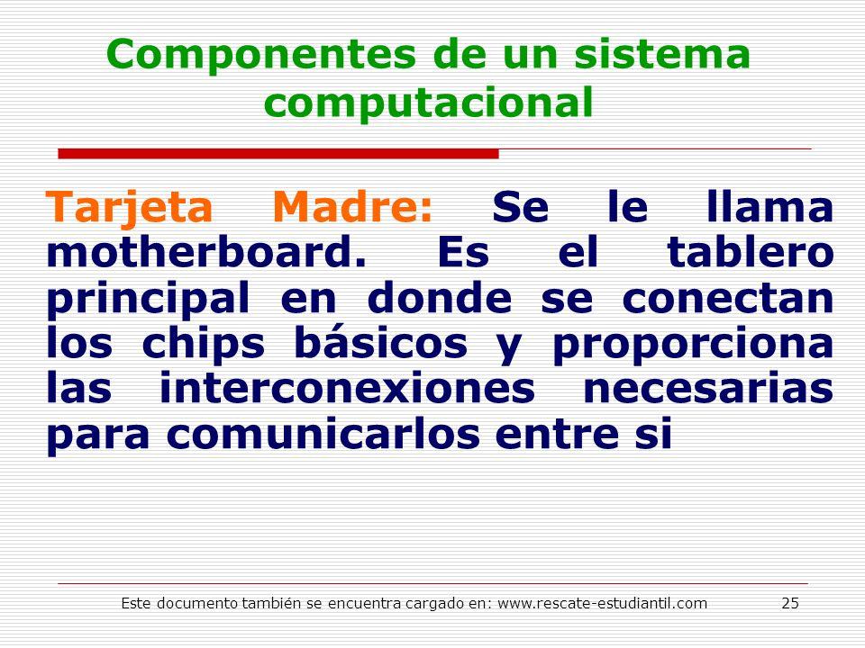 Componentes de un sistema computacional Tarjeta Madre: Se le llama motherboard. Es el tablero principal en donde se conectan los chips básicos y propo