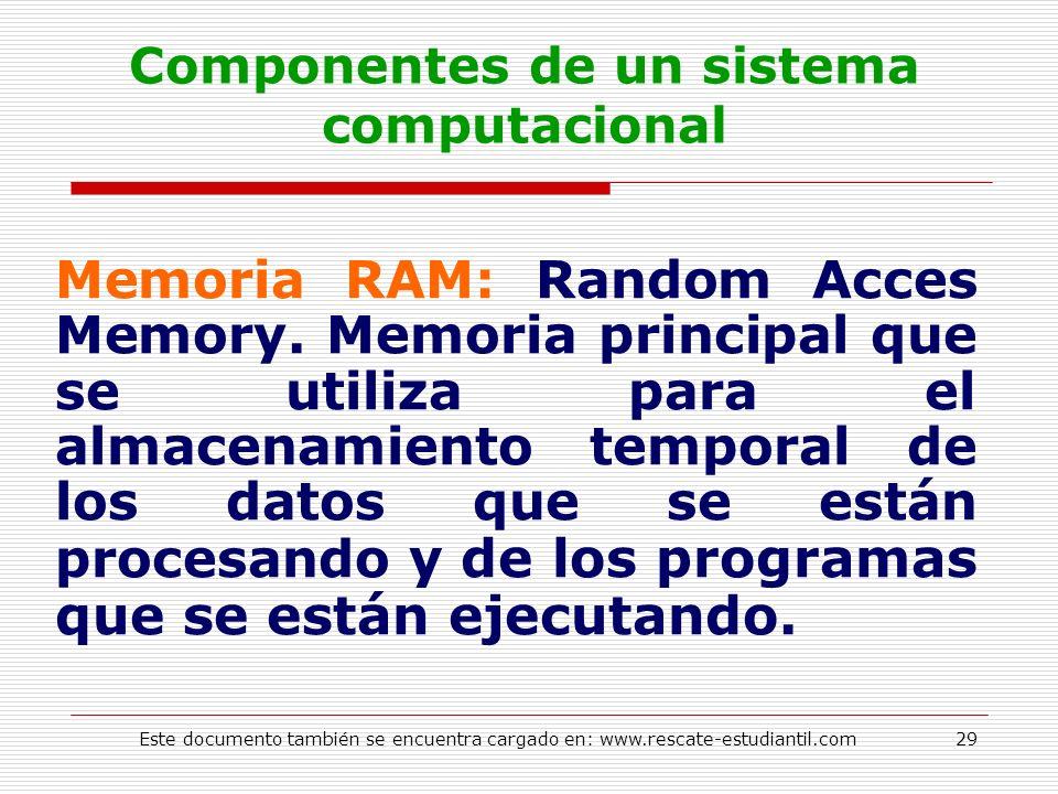 Componentes de un sistema computacional Memoria RAM: Random Acces Memory. Memoria principal que se utiliza para el almacenamiento temporal de los dato