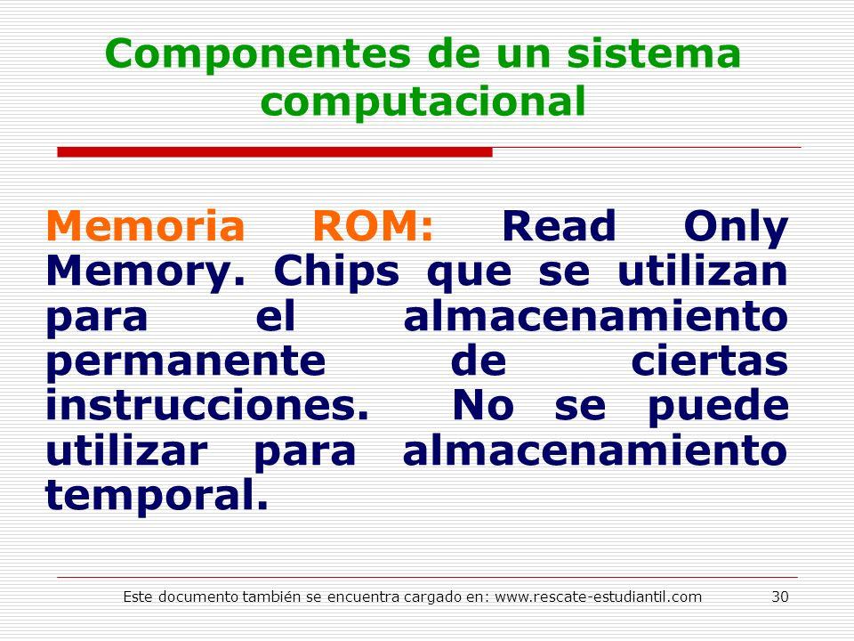 Componentes de un sistema computacional Memoria ROM: Read Only Memory. Chips que se utilizan para el almacenamiento permanente de ciertas instruccione