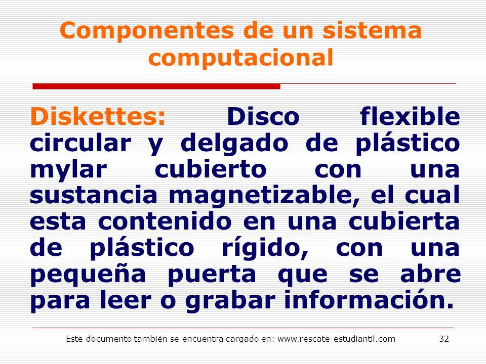 Componentes de un sistema computacional Diskettes: Disco flexible circular y delgado de plástico mylar cubierto con una sustancia magnetizable, el cua