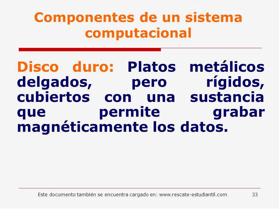 Componentes de un sistema computacional Disco duro: Platos metálicos delgados, pero rígidos, cubiertos con una sustancia que permite grabar magnéticam