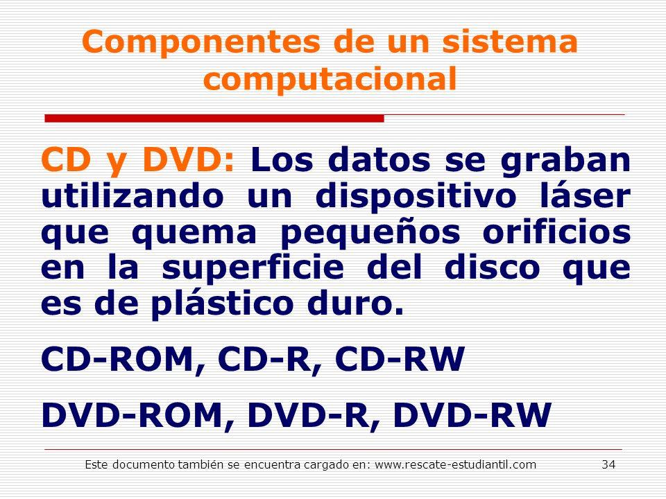 Componentes de un sistema computacional CD y DVD: Los datos se graban utilizando un dispositivo láser que quema pequeños orificios en la superficie de