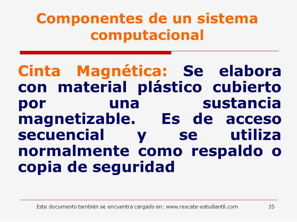 Componentes de un sistema computacional Cinta Magnética: Se elabora con material plástico cubierto por una sustancia magnetizable. Es de acceso secuen
