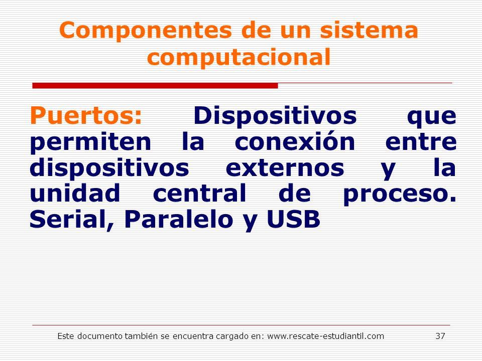 Componentes de un sistema computacional Puertos: Dispositivos que permiten la conexión entre dispositivos externos y la unidad central de proceso. Ser