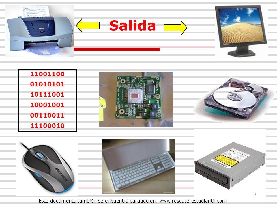 11001100 01010101 10111001 10001001 00110011 11100010 Salida 5 Este documento también se encuentra cargado en: www.rescate-estudiantil.com