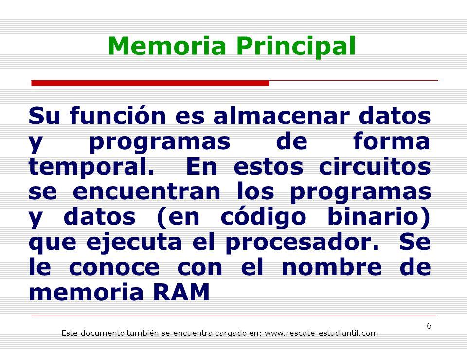Memoria Principal Su función es almacenar datos y programas de forma temporal. En estos circuitos se encuentran los programas y datos (en código binar