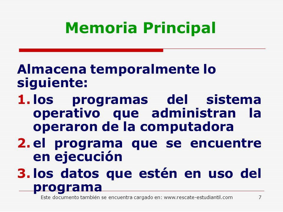 Memoria Principal Almacena temporalmente lo siguiente: 1.los programas del sistema operativo que administran la operaron de la computadora 2.el progra