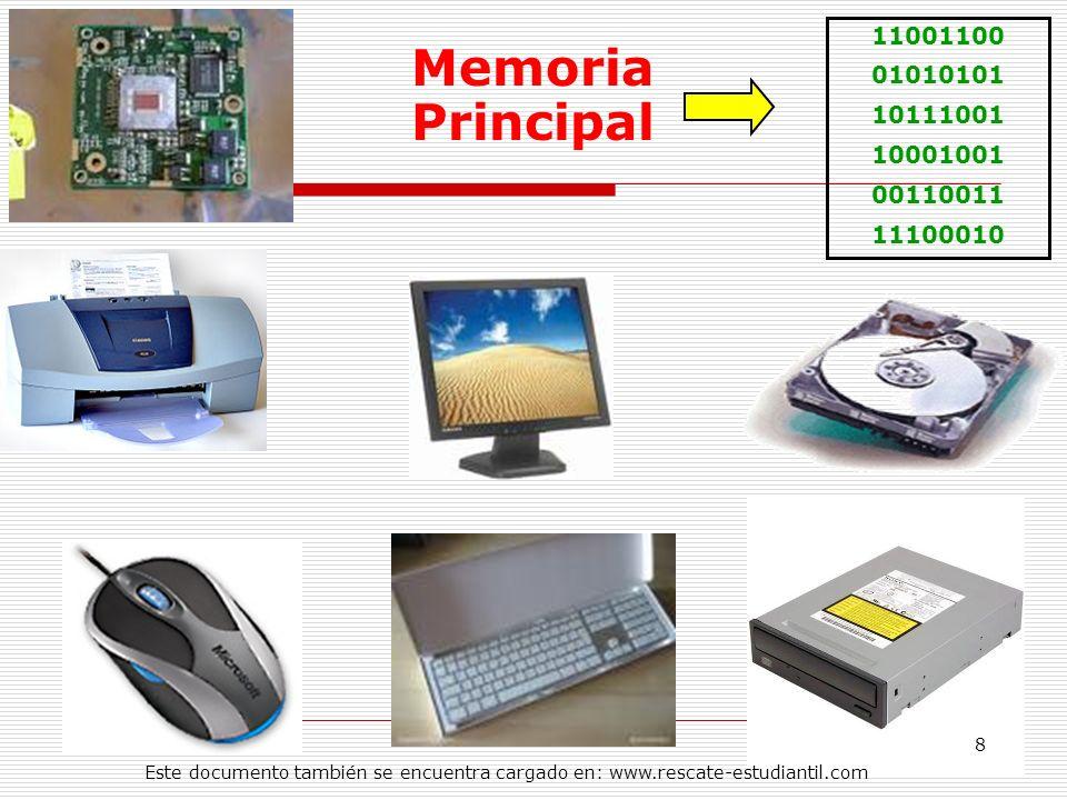 11001100 01010101 10111001 10001001 00110011 11100010 Memoria Principal 8 Este documento también se encuentra cargado en: www.rescate-estudiantil.com
