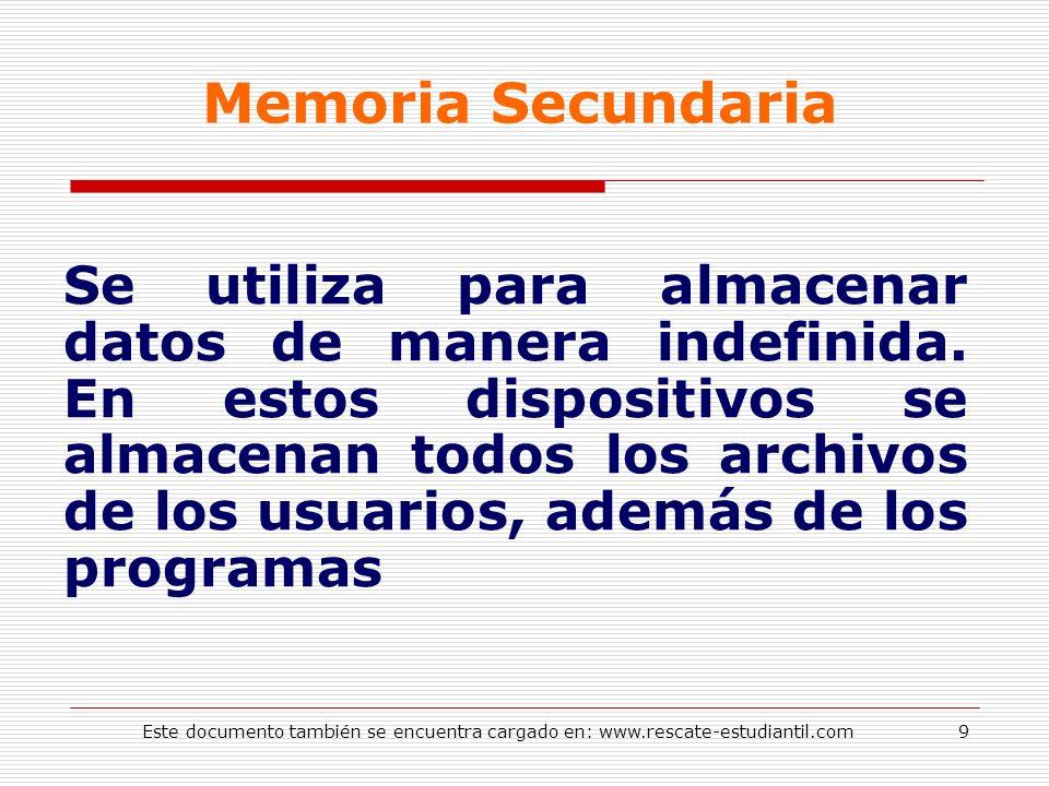 Memoria Secundaria Se utiliza para almacenar datos de manera indefinida. En estos dispositivos se almacenan todos los archivos de los usuarios, además