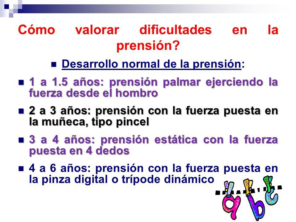 Cómo valorar dificultades en la prensión? Desarrollo normal de la prensión: 1 a 1.5 años: prensión palmar ejerciendo la fuerza desde el hombro 1 a 1.5