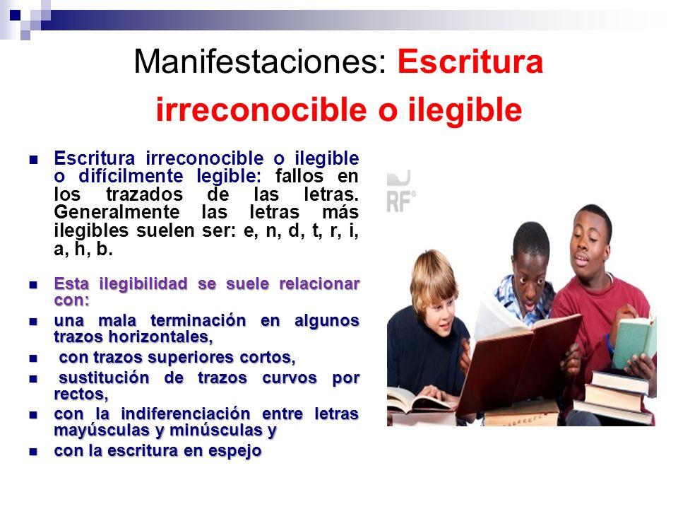 Manifestaciones: Escritura irreconocible o ilegible Escritura irreconocible o ilegible o difícilmente legible: fallos en los trazados de las letras. G