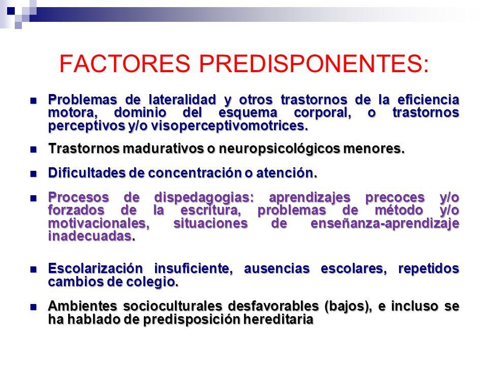 FACTORES PREDISPONENTES: Problemas de lateralidad y otros trastornos de la eficiencia motora, dominio del esquema corporal, o trastornos perceptivos y