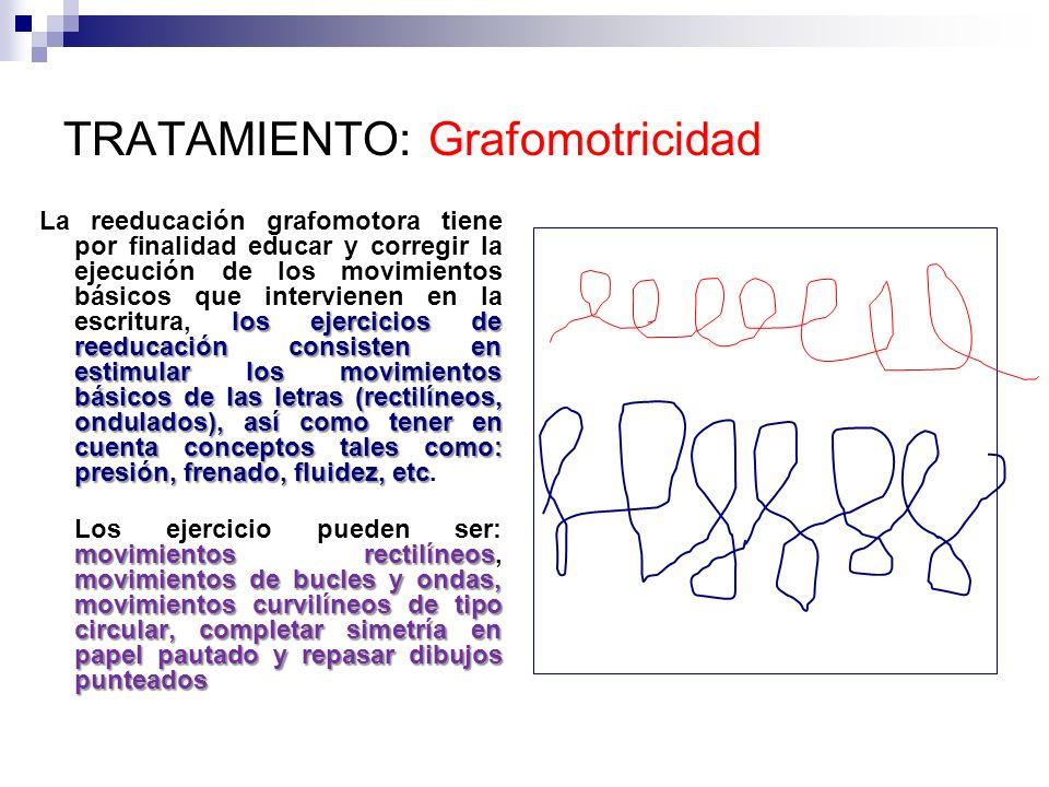 TRATAMIENTO: Grafomotricidad los ejercicios de reeducación consisten en estimular los movimientos básicos de las letras (rectilíneos, ondulados), así