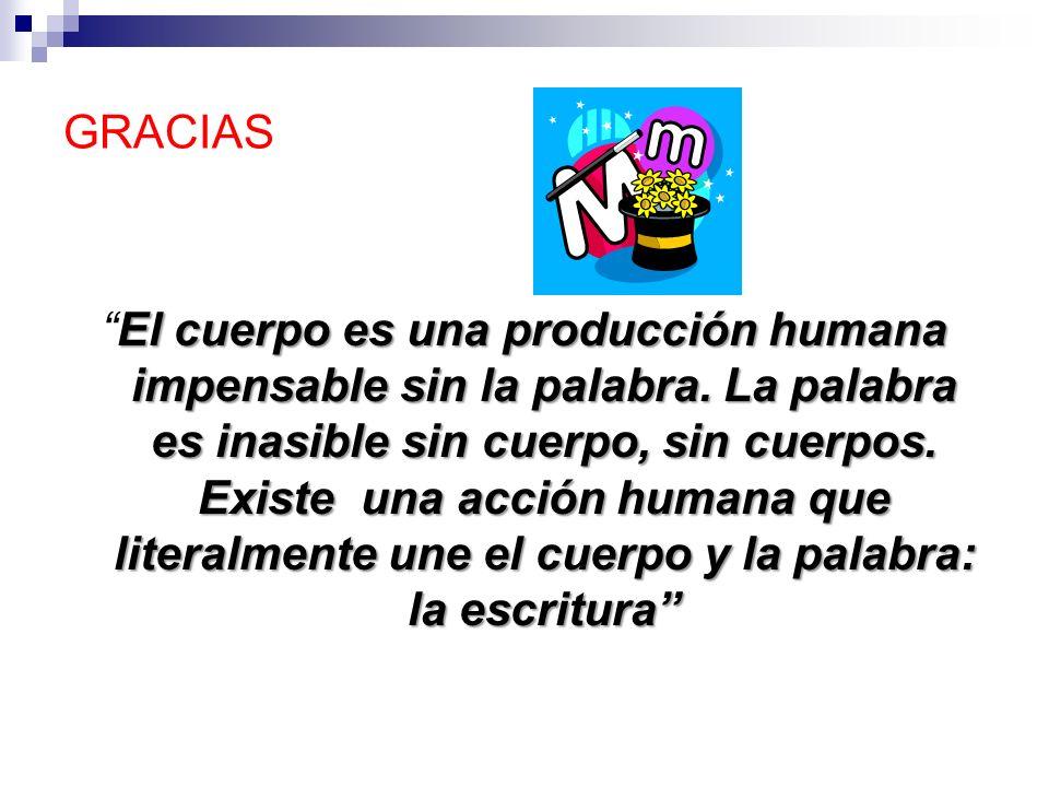 GRACIAS El cuerpo es una producción humana impensable sin la palabra. La palabra es inasible sin cuerpo, sin cuerpos. Existe una acción humana que lit