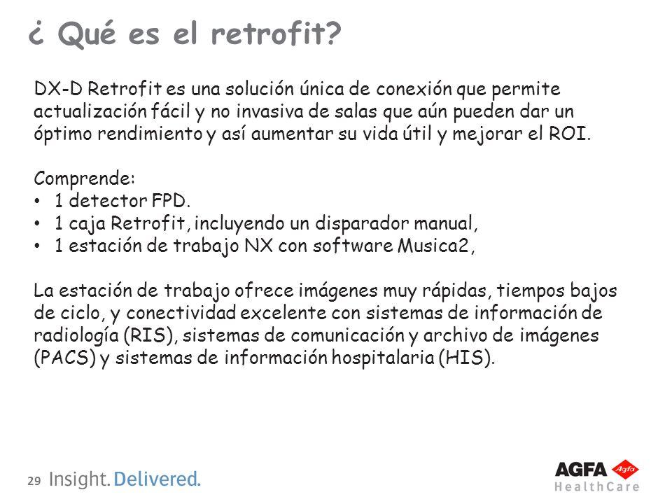 29 ¿ Qué es el retrofit? DX-D Retrofit es una solución única de conexión que permite actualización fácil y no invasiva de salas que aún pueden dar un
