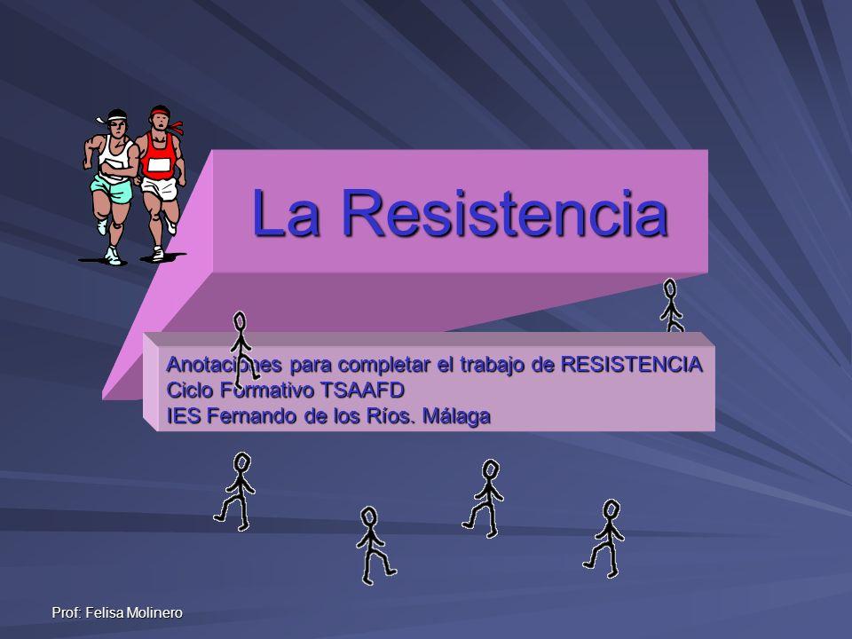 Prof: Felisa Molinero La Resistencia Anotaciones para completar el trabajo de RESISTENCIA Ciclo Formativo TSAAFD IES Fernando de los Ríos. Málaga