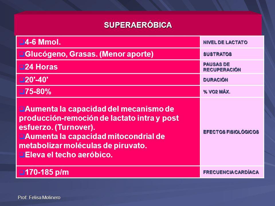Prof: Felisa Molinero SUPERAERÓBICA 4-6 Mmol. NIVEL DE LACTATO Glucógeno, Grasas. (Menor aporte)SUSTRATOS 24 Horas PAUSAS DE RECUPERACIÓN 20'-40'DURAC