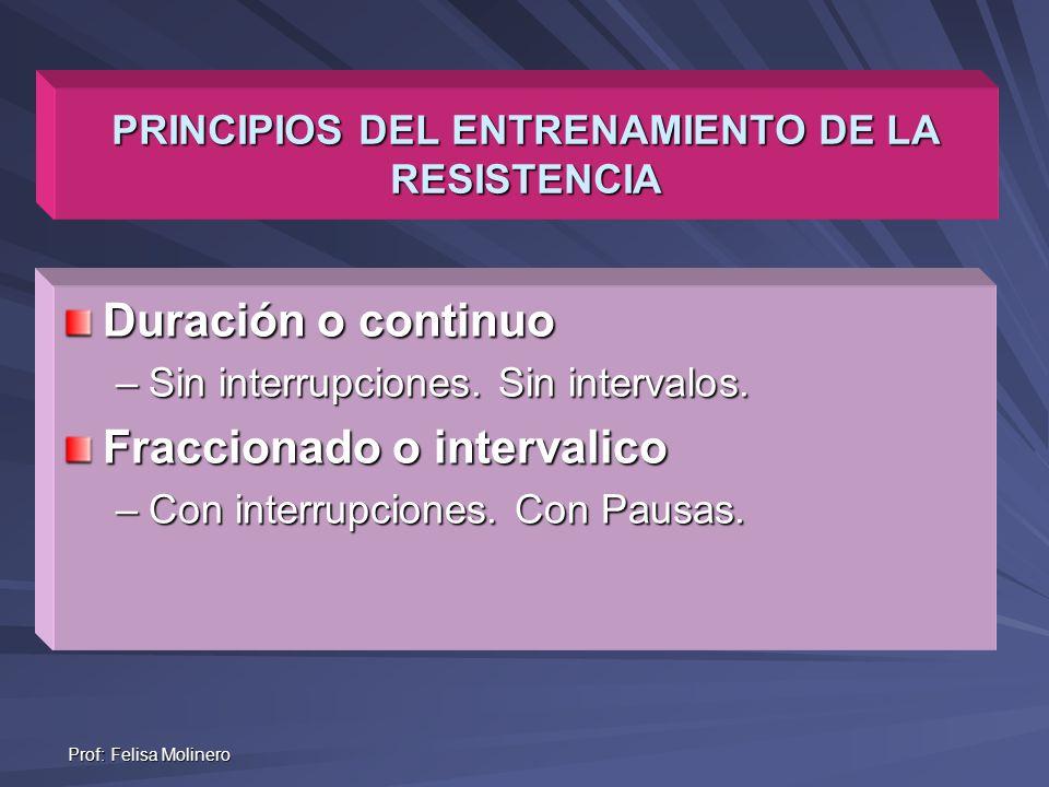 Prof: Felisa Molinero PRINCIPIOS DEL ENTRENAMIENTO DE LA RESISTENCIA Duración o continuo –Sin interrupciones. Sin intervalos. Fraccionado o intervalic