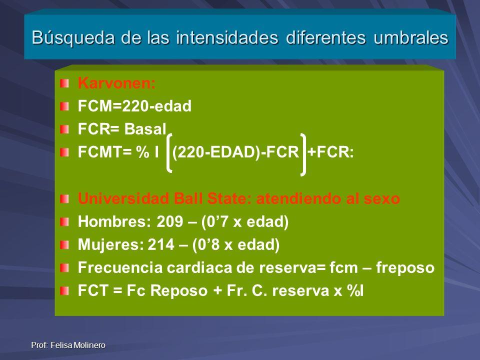 Prof: Felisa Molinero Karvonen: FCM=220-edad FCR= Basal FCMT= % I (220-EDAD)-FCR +FCR: Universidad Ball State: atendiendo al sexo Hombres: 209 – (07 x