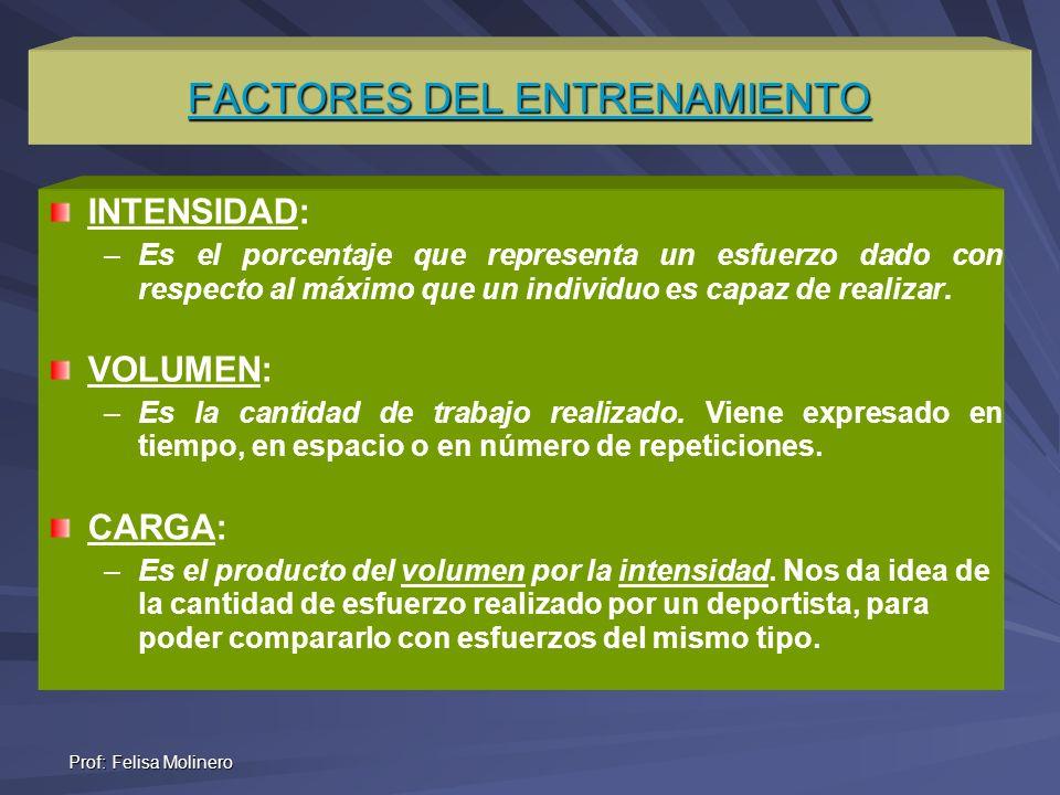 Prof: Felisa Molinero FACTORES DEL ENTRENAMIENTO INTENSIDAD: – –Es el porcentaje que representa un esfuerzo dado con respecto al máximo que un individ
