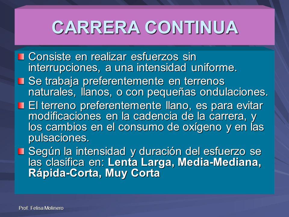 Prof: Felisa Molinero CARRERA CONTINUA Consiste en realizar esfuerzos sin interrupciones, a una intensidad uniforme. Se trabaja preferentemente en ter