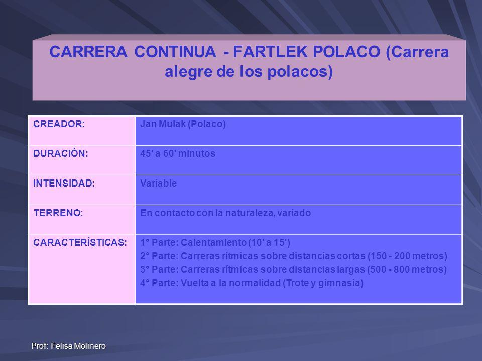 Prof: Felisa Molinero CARRERA CONTINUA - FARTLEK POLACO (Carrera alegre de los polacos) CREADOR:Jan Mulak (Polaco) DURACIÓN:45' a 60' minutos INTENSID